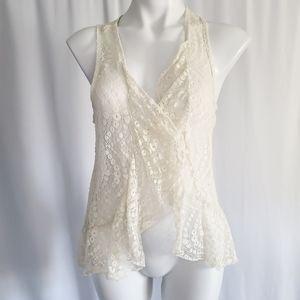 Eyeshadow cream knit wrap light cardigan sz M